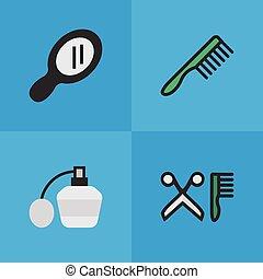 Vector Illustration Set Of Simple Shop Icons. Elements Comb,...
