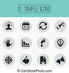 Vector Illustration Set Of Simple Situation Icons. Elements Atm Point, Rotation, Megaphone And Other Synonyms Calendar, Champagne And Money.