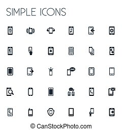 Vector Illustration Set Of Simple Smartphone Icons. Elements...
