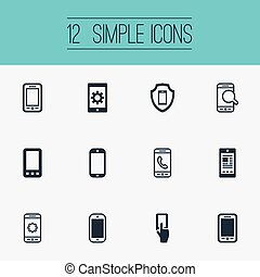 Vector Illustration Set Of Simple Smartphone Icons. Elements Search, Communicating, Using A Telephone And Other Synonyms Touch, Linkage And Settings.