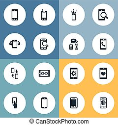Vector Illustration Set Of Simple Smartphone Icons. Elements Using A Telephone, Calling, Crown And Other Synonyms Messaging, Gadget And Repair.