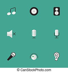 Vector Illustration Set Of Simple Sound Icons. Elements Music Sign, Loudspeaker, Mike And Other Synonyms Note, Make And Loudspeaker.