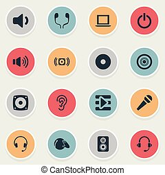 Vector Illustration Set Of Simple Sound Icons. Elements New Album, Notebook, Loudspeaker And Other Synonyms Subwoofer, Speaker And Music.