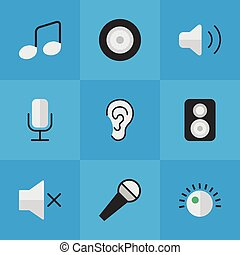 Vector Illustration Set Of Simple Sound Icons. Elements Volume, Regulator, Listen And Other Synonyms Regulator, Record And Sound.