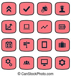 Vector Illustration Set Of Simple Startup Icons. Elements Arrow Up, Briefcase, Computer And Other Synonyms Growth, Battery And Frame.
