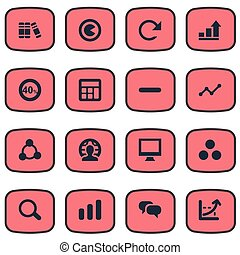 Vector Illustration Set Of Simple Statistic Icons. Elements...