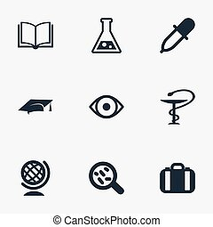 Vector Illustration Set Of Simple Study Icons. Elements...