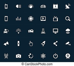 Vector Illustration Set Of Simple Technology Icons. Elements...