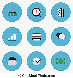 Vector Illustration Set Of Simple Trade Icons. Elements Diagram, Talking, Pay And Other Synonyms Building, Growing And Credit Card.