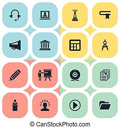 Vector Illustration Set Of Simple Training Icons. Elements Guidebook, Start, Orator And Other Synonyms Lecturer, Geometry And Guidebook.