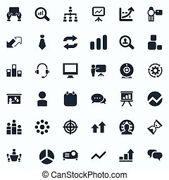 Vector Illustration Set Of Simple Training Icons. Elements...