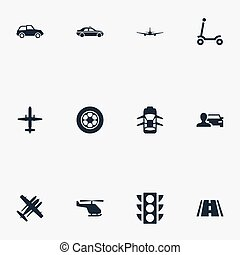 Vector Illustration Set Of Simple Transportation Icons. Elements Kids Activity, Aeroplane, Hatchback And Other Synonyms Jet, Automobile And Flight.