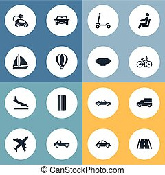 Vector Illustration Set Of Simple Transportation Icons. Elements Sky Travel, Road, Blimp And Other Synonyms Road, Aircraft And Traveler.