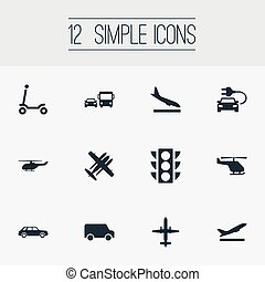 Vector Illustration Set Of Simple Transportation Icons. Elements Transport, Van, Semaphore And Other Synonyms Downgrade, Hatchback And Military.