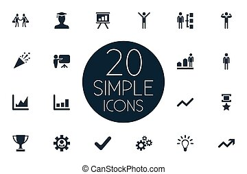 Vector Illustration Set Of Simple Trophy Icons. Elements Gears, Military Medal, Chart And Other Synonyms Gear, Company And Degree.