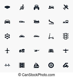 Vector Illustration Set Of Simple Transport Icons. Elements Downgrade, Automobilist, Yacht And Other Synonyms Bomber, Public And Stoplight.