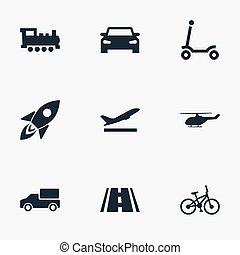 Vector Illustration Set Of Simple Transport Icons. Elements Kids Activity, Auto, Bike And Other Synonyms Street, Road And Transportation.