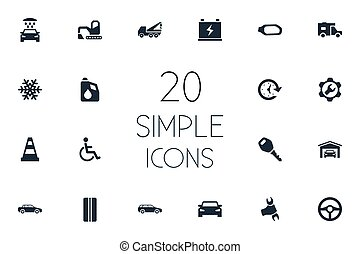 Vector Illustration Set Of Simple Vehicle Icons. Elements...