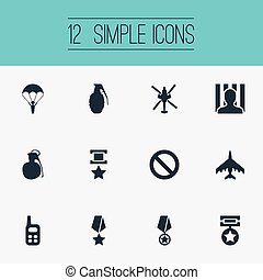 Vector Illustration Set Of Simple War Icons. Elements...