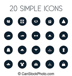 Vector Illustration Set Of Simple Wardrobe Icons. Elements...