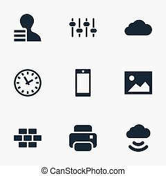 Vector Illustration Set Of Simple Web Icons. Elements Printer, Designer, Picture And Other Synonyms Bricks, Option And Print.