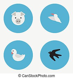 Vector Illustration Set Of Simple Wild Icons. Elements...