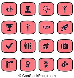 Vector Illustration Set Of Simple Winner Icons. Elements Gears, Deal, Innovation And Other Synonyms Attainment, Innovation And Trophy.