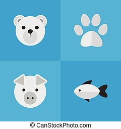 Vector Illustration Set Of Simple Zoo Icons. Elements Foot ,...
