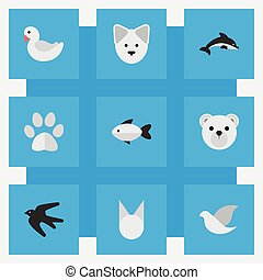 Vector Illustration Set Of Simple Zoo Icons. Elements Perch, Wolf, Fish And Other Synonyms Foot, Fish And Seafood.
