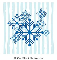 Set of snowflakes in the style of a flat