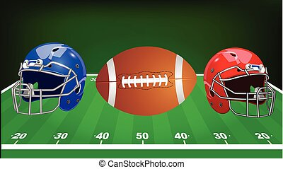 Vector illustration. Set of sport equipment. American football.