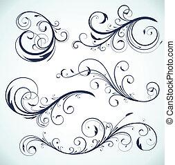 floral elements - Vector illustration set of swirling...