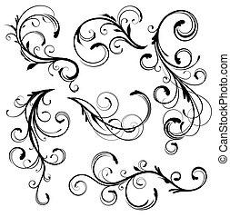 floral elements - Vector illustration set of swirling ...
