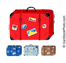 Vector illustration set of travel suitcases