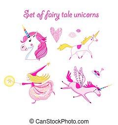Vector illustration set of unicorns