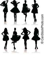 set of various beautiful model girls in dress.