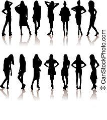 vector illustration set of various beautiful model girls in dress.Lady girls
