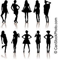 vector illustration set of various beautiful model girls in dress.Lady girls