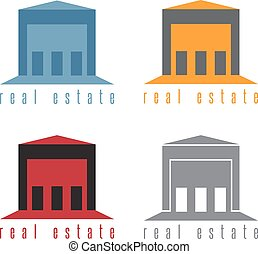 vector illustration set of warehouses real estate