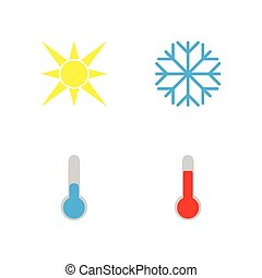 Vector illustration. Set of weather icons. Flat style