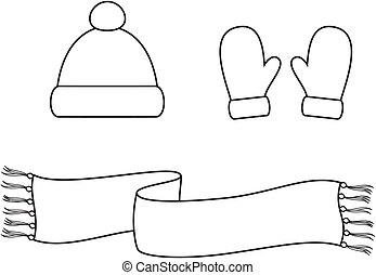 Cap, scarf, mittens - Vector illustration. Set of winter ...
