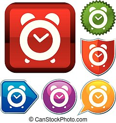 Set shiny icon series on buttons. Alarm clock