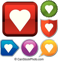 Set shiny icon series on buttons. Heart.