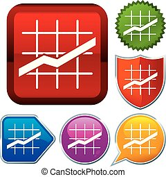 Set shiny icon series on buttons. Line chart.