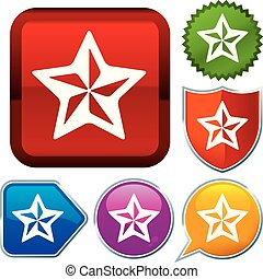 Set shiny icon series on buttons. Star.
