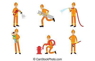Vector Illustration Set With Different Action Poses Of Fireman At Work