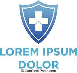 vector illustration shield and symbol plus icon logo design
