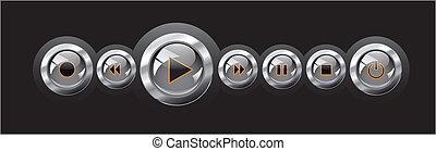Vector illustration shiny glossy media player navigation. ...