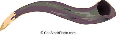 Vector illustration Shofar - a horn used in jewish holidays of Rosh Hashana and Yom Kippur.