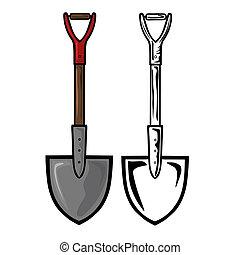 Vector illustration : Shovel on a white background.